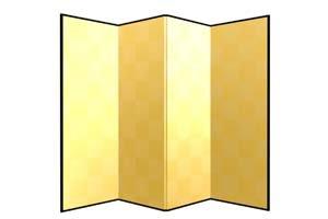 画像1: 四曲金屏風(紙丁番)うるし有 洋金 外寸5.7x2尺