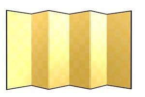 画像1: 六曲金屏風(紙丁番)うるし有 洋金 外寸H5.7x2尺
