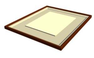 画像1: 女桑角型額装 浮型 半紙